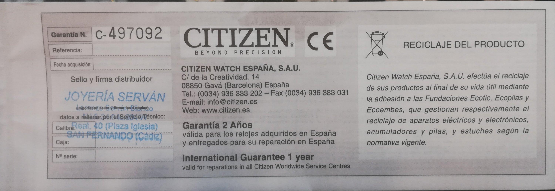 Garantia Citizen España De 2 Años